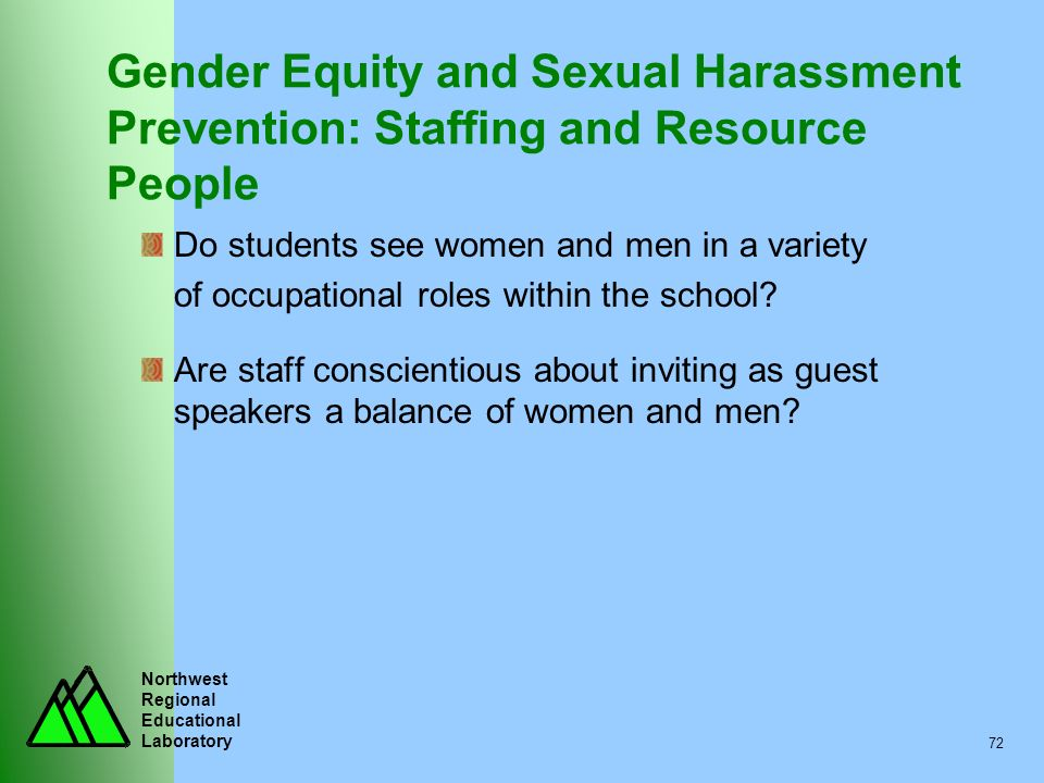 Gender Equity and Sexual Harassment Prevention: Staffing and Resource People