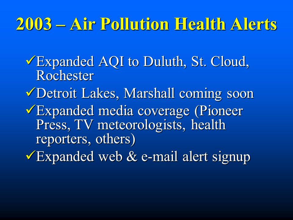 2003 – Air Pollution Health Alerts