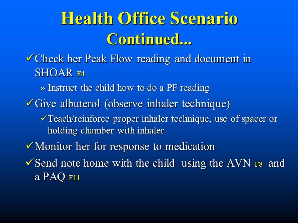 Health Office Scenario Continued...