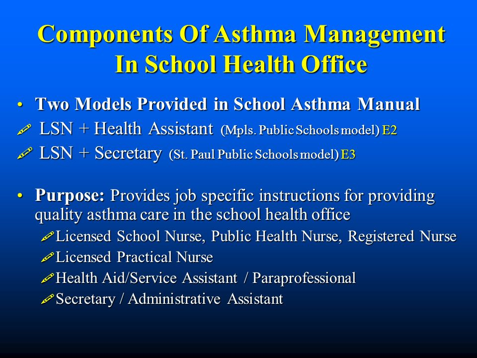 Components Of Asthma Management In School Health Office