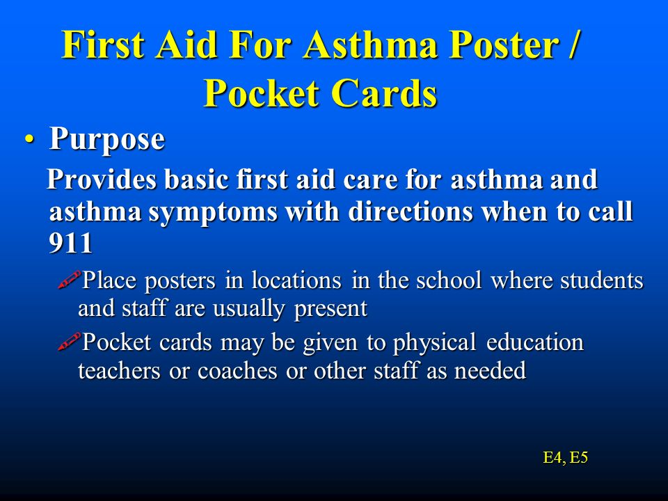 First Aid For Asthma Poster / Pocket Cards