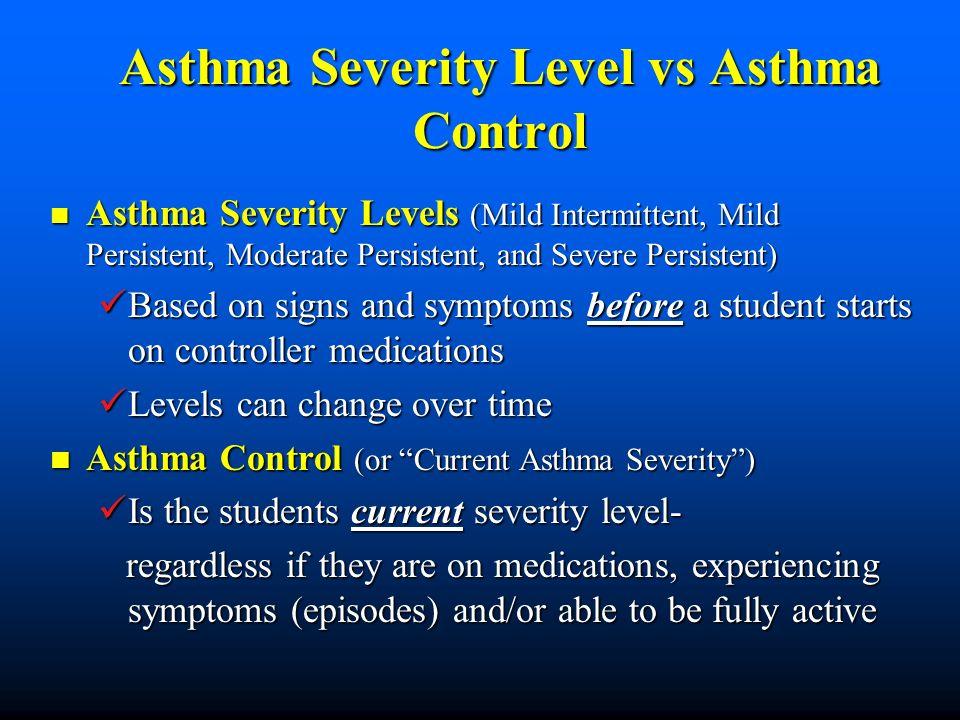 Asthma Severity Level vs Asthma Control