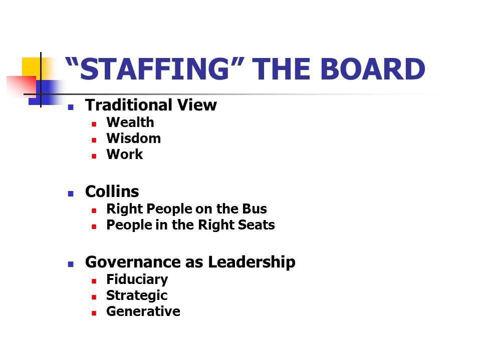 STAFFING THE BOARD Traditional View Collins Governance as Leadership