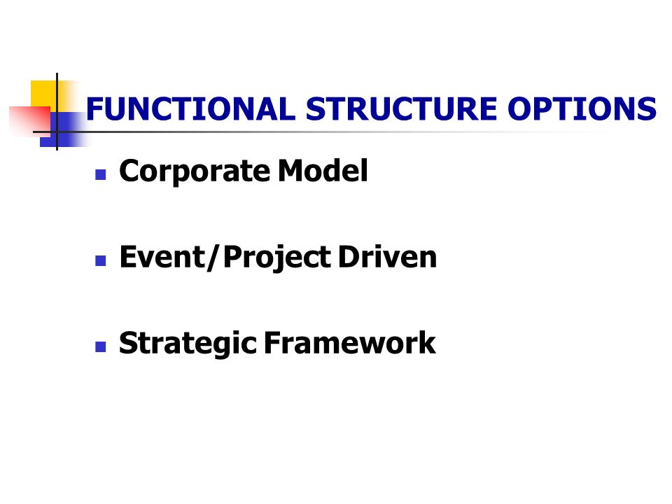 FUNCTIONAL STRUCTURE OPTIONS