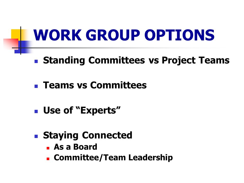 WORK GROUP OPTIONS Standing Committees vs Project Teams