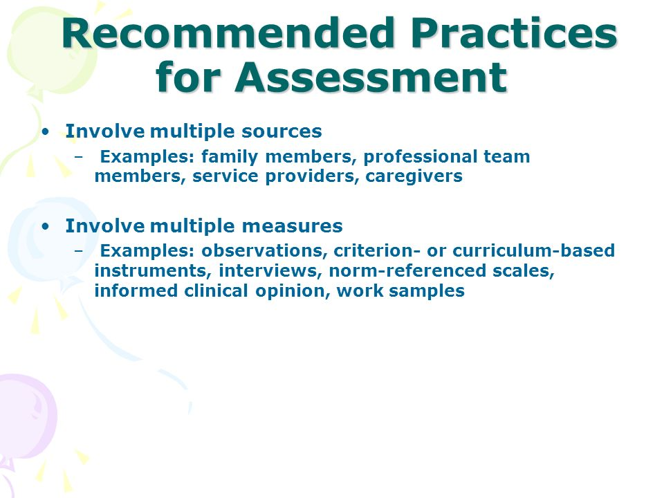 Recommended Practices for Assessment