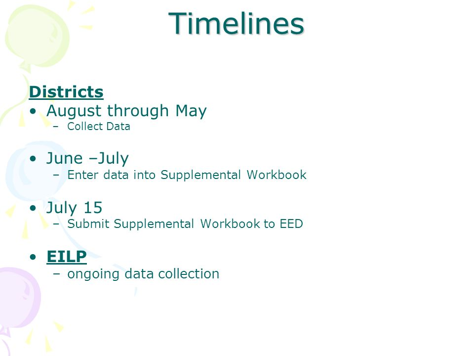 Timelines Districts August through May June –July July 15 EILP