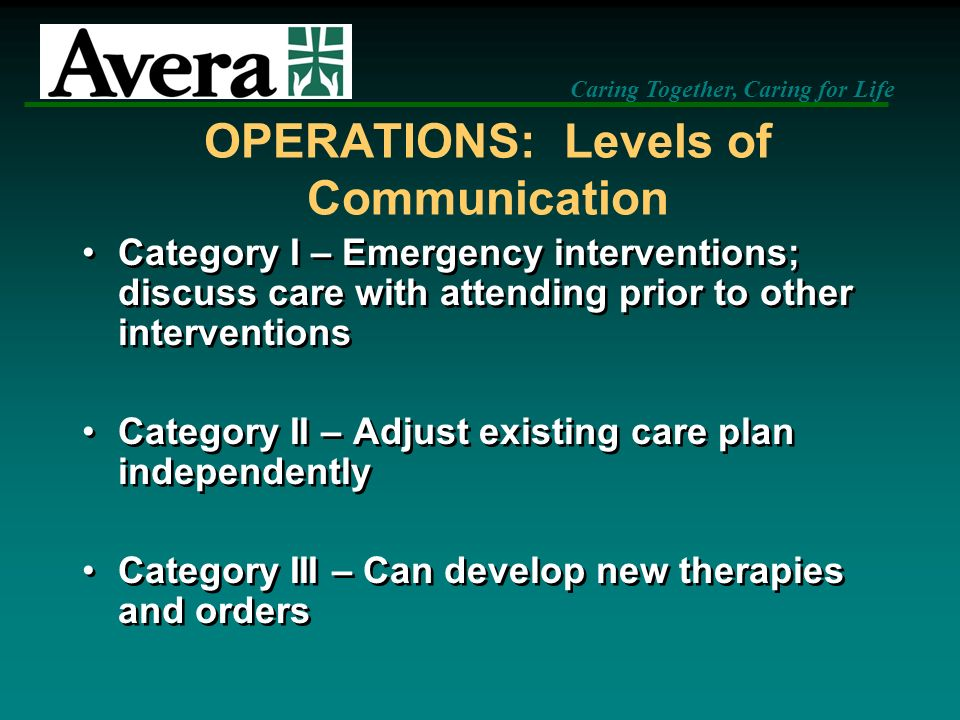 OPERATIONS: Levels of Communication