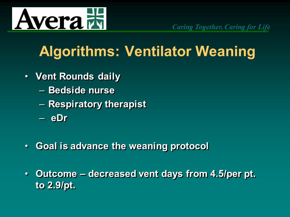 Algorithms: Ventilator Weaning