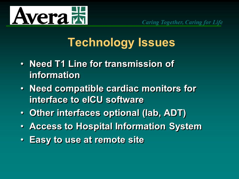 Technology Issues Need T1 Line for transmission of information