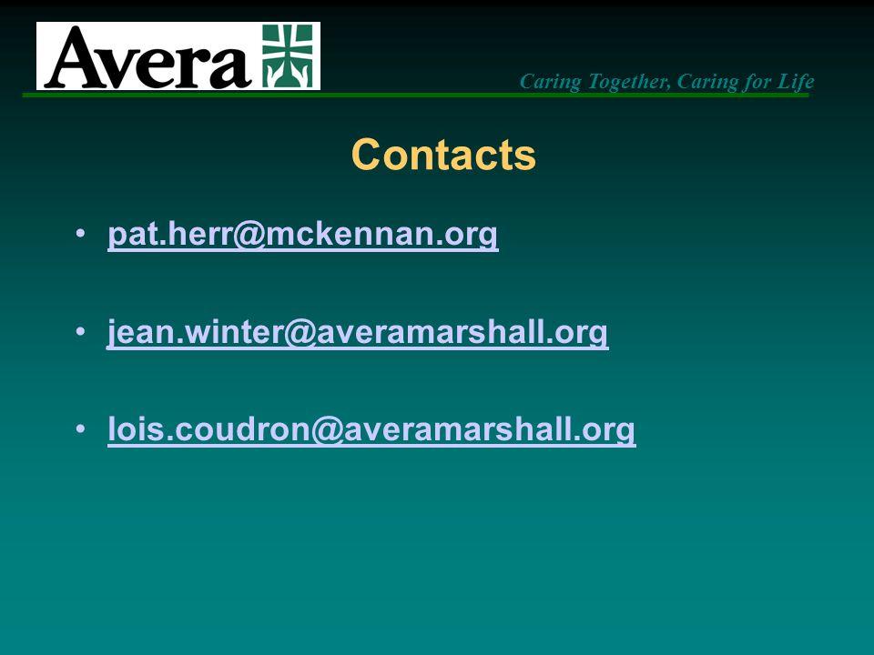 Contacts pat.herr@mckennan.org jean.winter@averamarshall.org