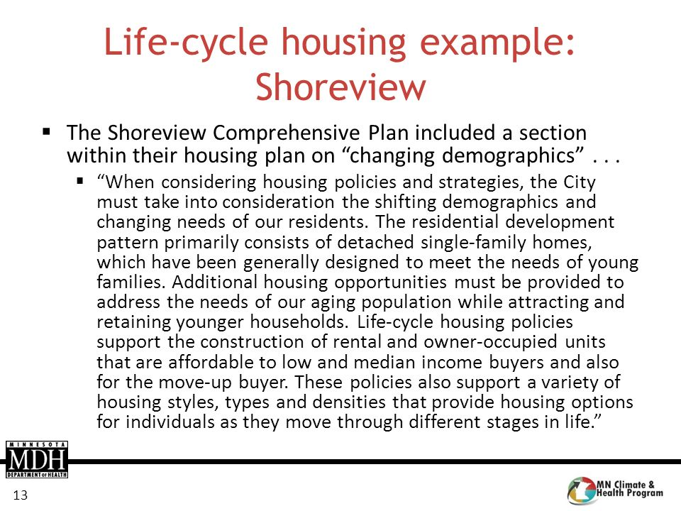 Life-cycle housing example: Shoreview