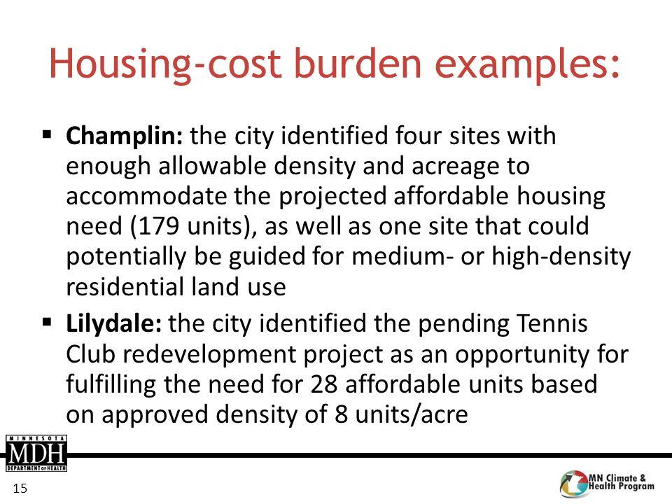 Housing-cost burden examples: