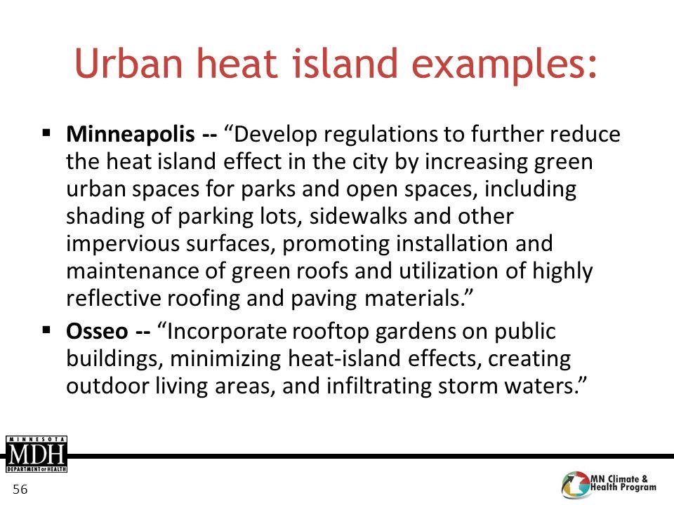 Urban heat island examples: