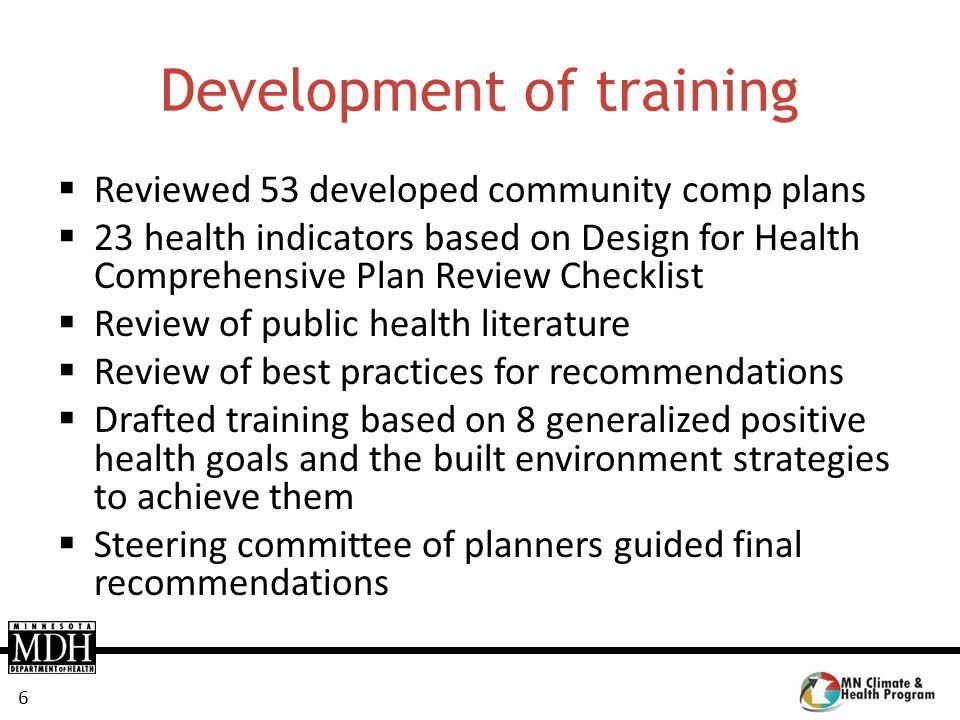 Development of training