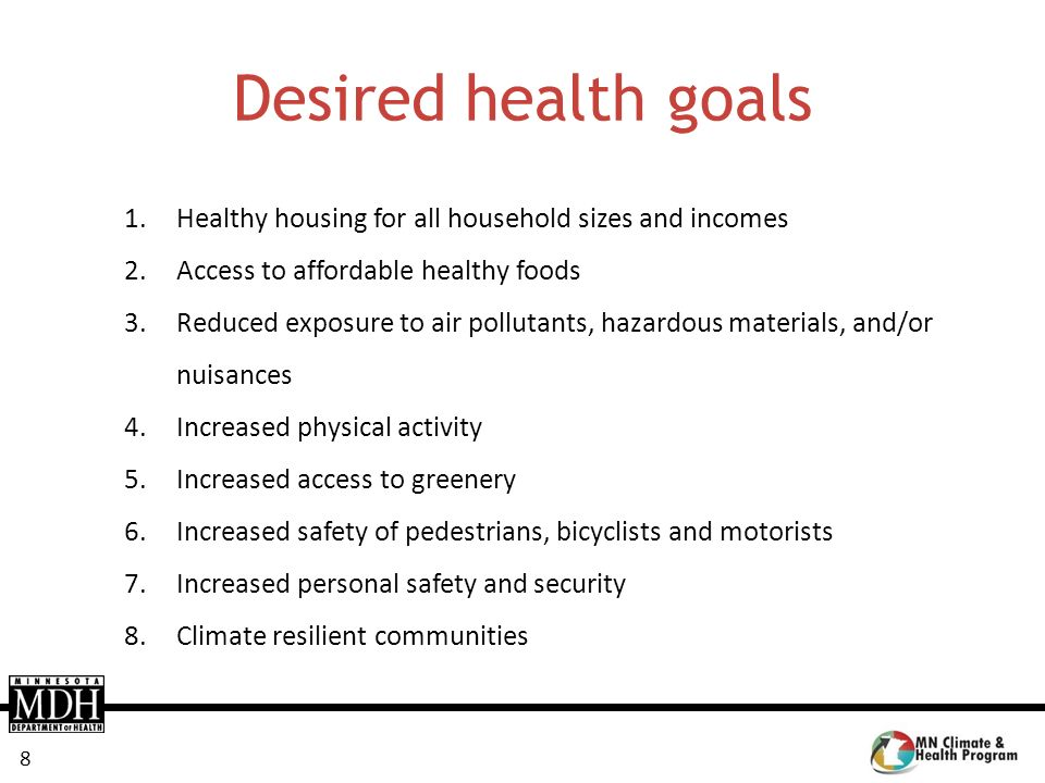 Desired health goals Healthy housing for all household sizes and incomes. Access to affordable healthy foods.