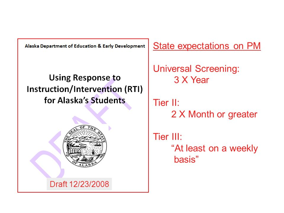 State expectations on PM Universal Screening: 3 X Year Tier II: