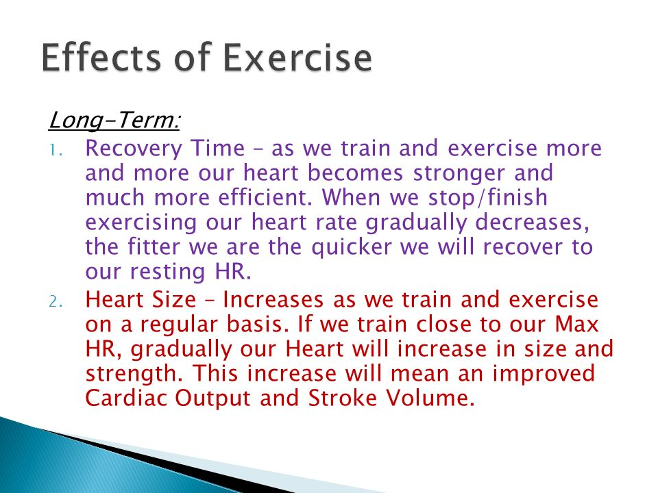 effect of exercise on cardia output Rehabilitation of cardiovascular disease the effects of aerobic exercise on  exercise cardiac output and related parameters in patients with chronic heart  failure.