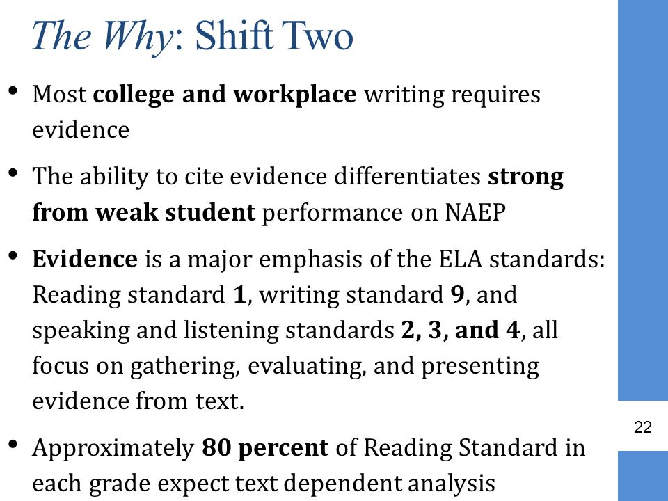 The Why: Shift Two Most college and workplace writing requires evidence.