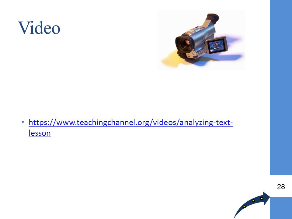 Video https://www.teachingchannel.org/videos/analyzing-text-lesson