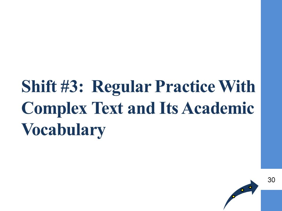 Shift #3: Regular Practice With Complex Text and Its Academic Vocabulary