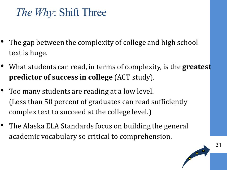 The Why: Shift Three The gap between the complexity of college and high school text is huge.