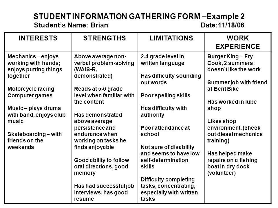 STUDENT INFORMATION GATHERING FORM –Example 2 Student's Name: Brian