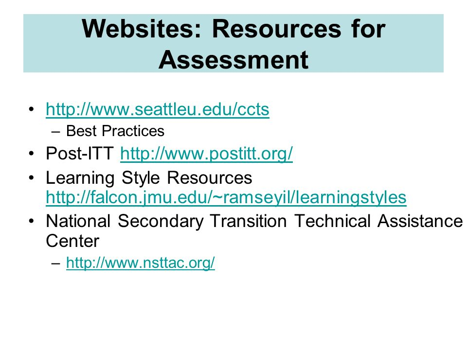 Websites: Resources for Assessment