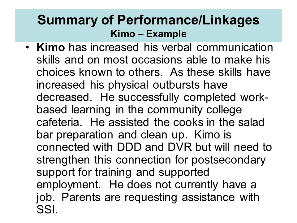 Summary of Performance/Linkages Kimo – Example