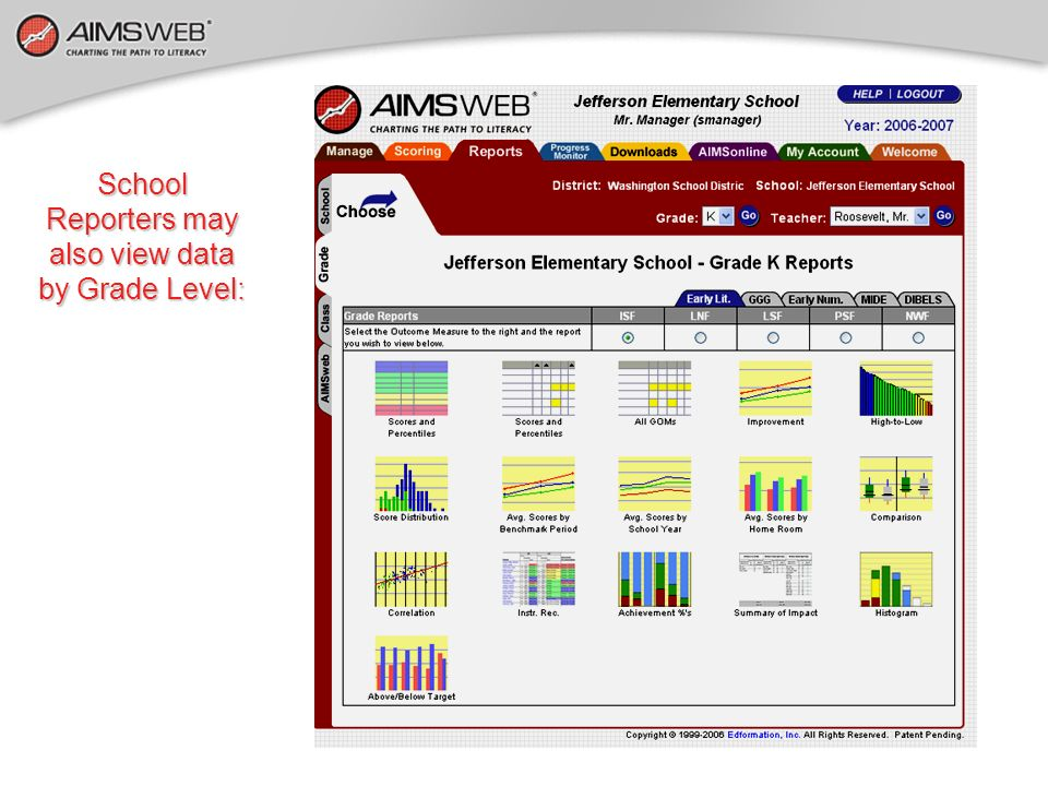School Reporters may also view data by Grade Level: