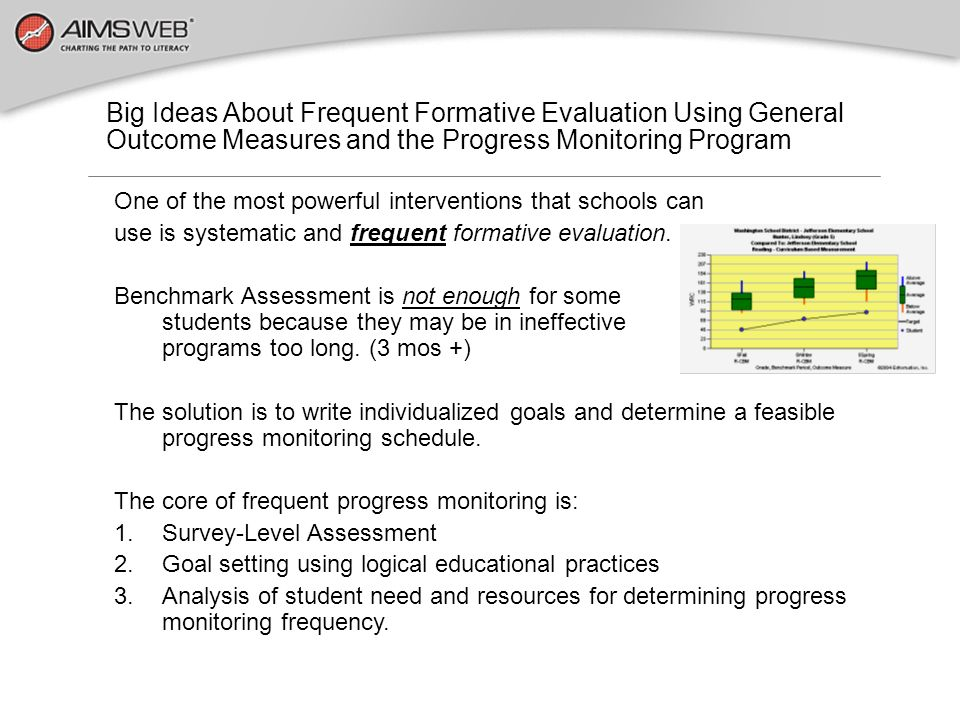 Big Ideas About Frequent Formative Evaluation Using General Outcome Measures and the Progress Monitoring Program