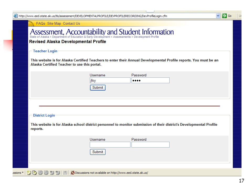 District login allows districts to see which teachers have submitted their completed RADPs.