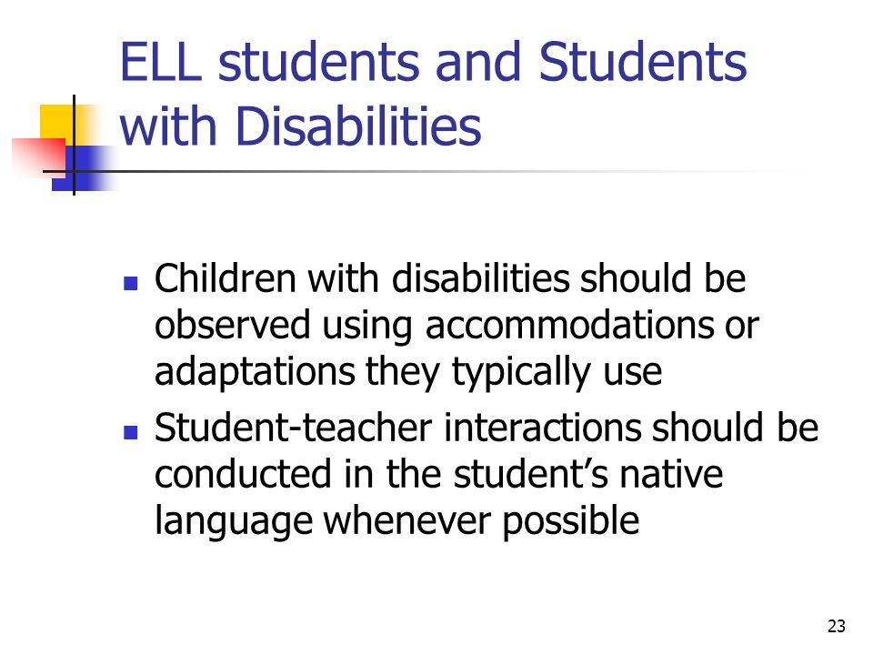 ELL students and Students with Disabilities