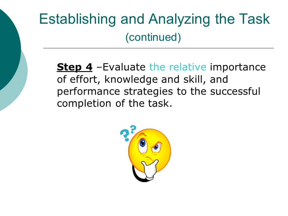 Establishing and Analyzing the Task (continued)