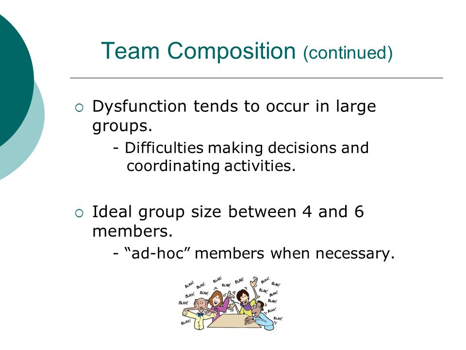 Team Composition (continued)