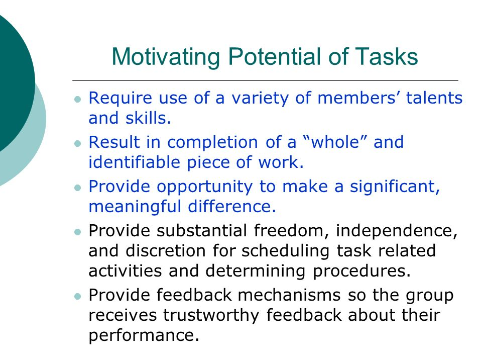 Motivating Potential of Tasks