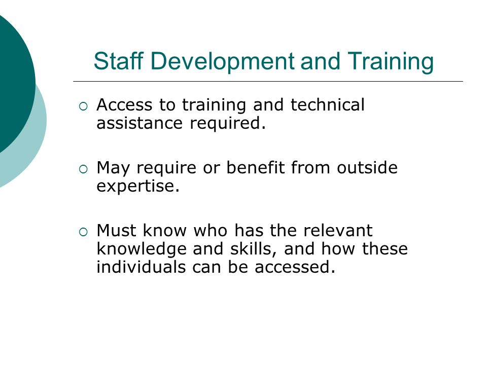 Staff Development and Training