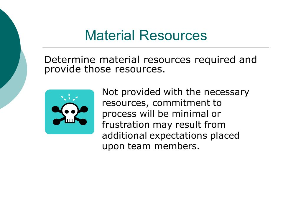 Material Resources Determine material resources required and provide those resources.