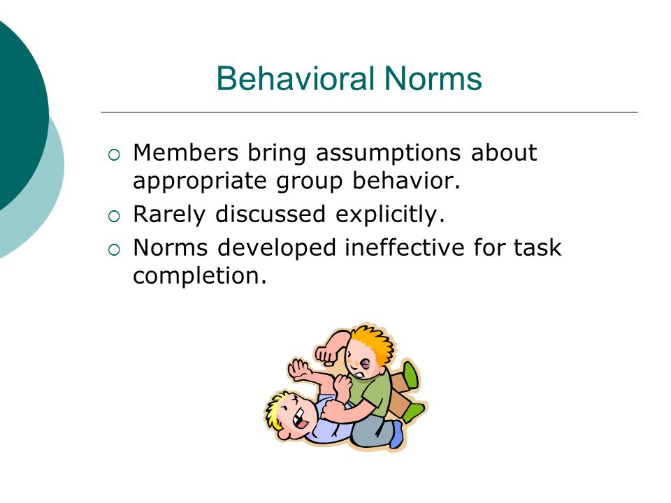Behavioral Norms Members bring assumptions about appropriate group behavior. Rarely discussed explicitly.