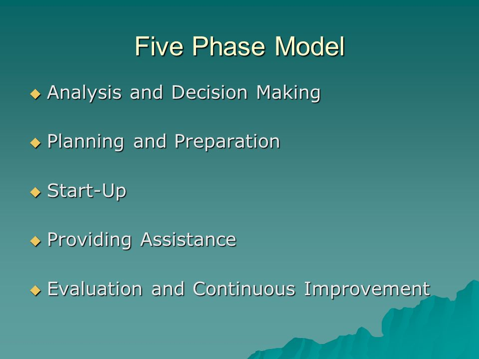 Five Phase Model Analysis and Decision Making Planning and Preparation