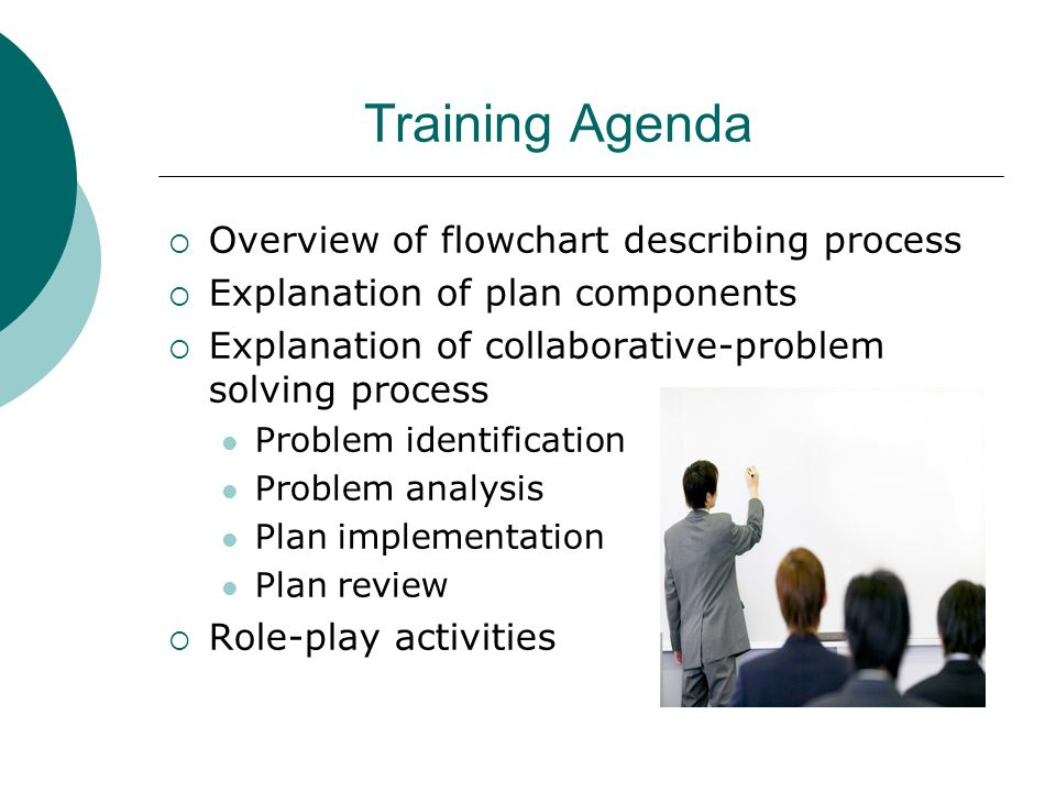 Training Agenda Overview of flowchart describing process