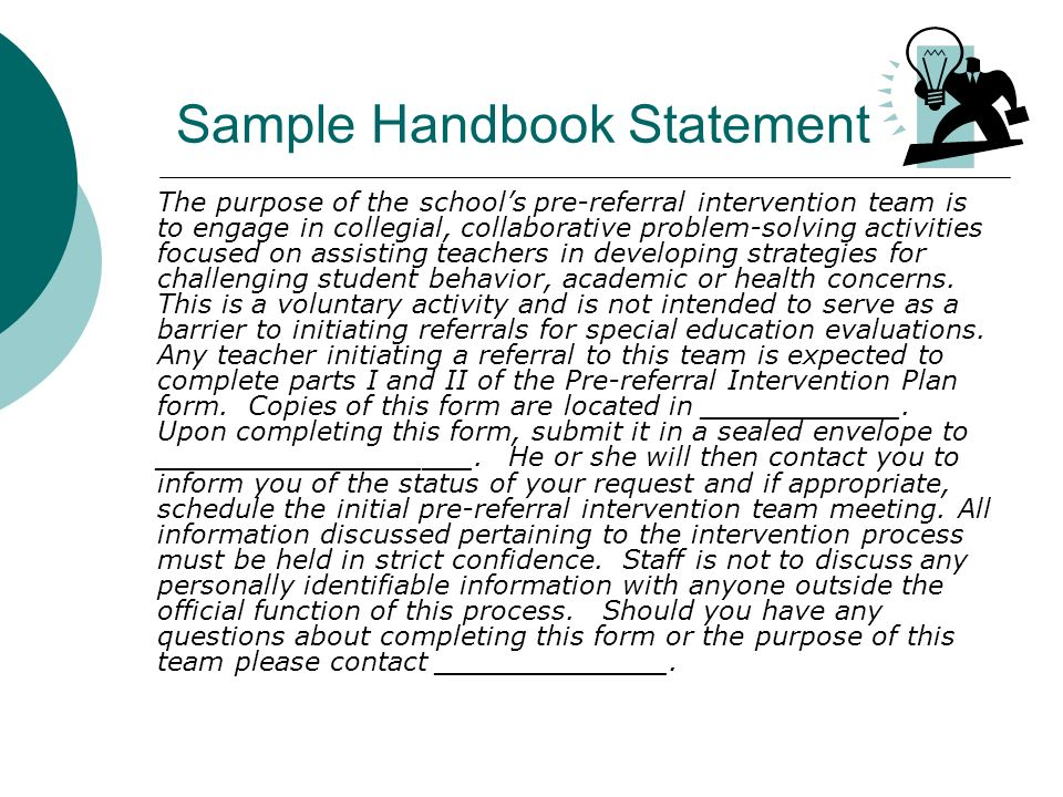 Sample Handbook Statement