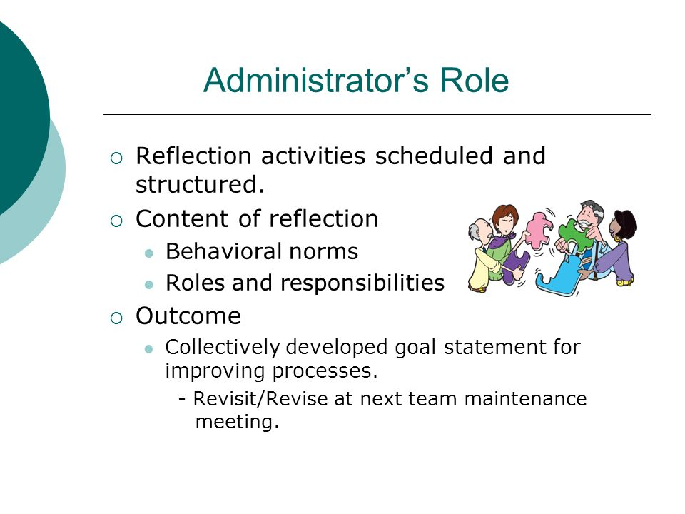 Administrator's Role Reflection activities scheduled and structured.