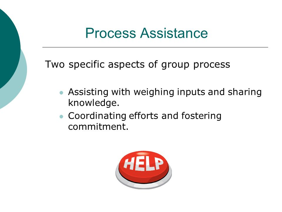 Process Assistance Two specific aspects of group process