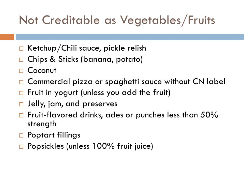 Not Creditable as Vegetables/Fruits