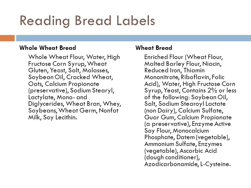 Reading Bread Labels