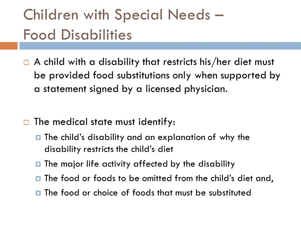Children with Special Needs – Food Disabilities