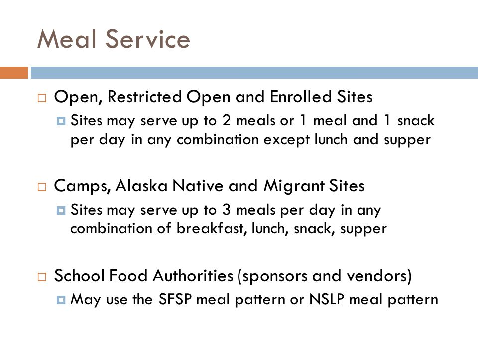 Meal Service Open, Restricted Open and Enrolled Sites