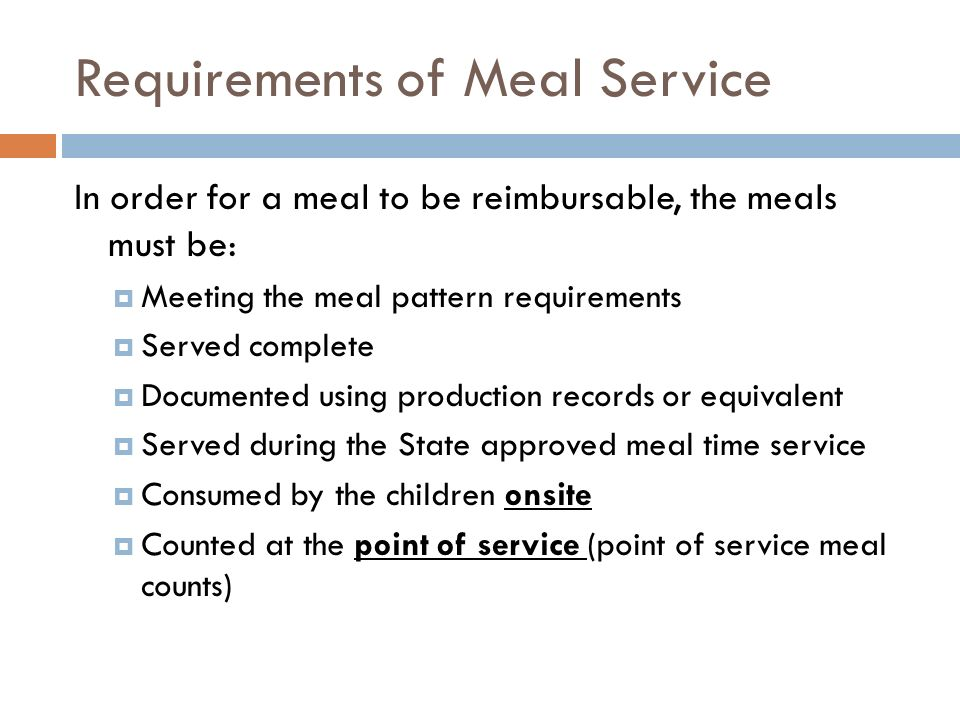 Requirements of Meal Service