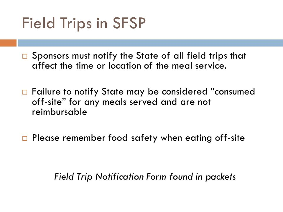 Field Trip Notification Form found in packets
